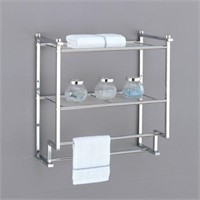 2 TIER WALL MOUNTED RACK WITH TOWEL BAR
