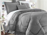 CHEBRON COLLECTION EMBOSSED BED COMFORTER SET