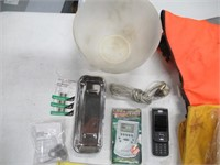 Lot of Assorted Items, Rain Suit, Plastic Bowl,