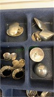 Tray Lot of 25 pairs of 925 pierced earrings,
