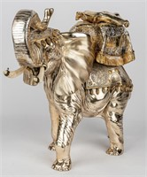 Vintage Silver & Gold Ceremonial Elephant Statue