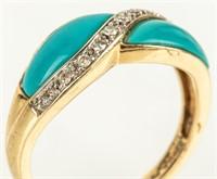Jewelry 14kt Yellow Gold Diamond & Turquoise Ring