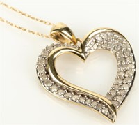 Jewelry 10kt Yellow Gold Diamond Heart Necklace