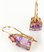 Jewelry 14kt Yellow Gold Amethyst Earrings