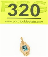 Jewelry 14kt Yellow Gold Blue Topaz Pendant