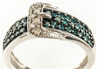 Jewelry 10kt White Gold Diamond Buckle Ring