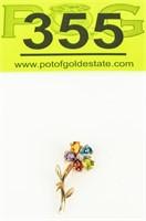 Jewelry 14kt Yellow Gold Gemstone Flower Brooch