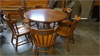 Tell City Table w/ (2) Leaves & (6) Chairs