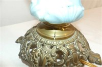 Footed Brass Base Table Lamp (small crack)