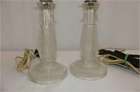 2 Cut Glass Base Dresser Lamps (no shades)