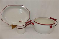 White w/Red Enamel - Platter, Open Canner