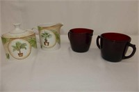 4 Cups & Saucers, Tea Cup w/Strainer
