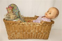 "Large Double Handle Wicker Basket     20Lx12Wx8""H"