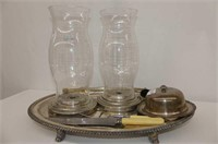 """Footed Silver Carving Tray, 12.5"""" Hurricane Holder"""