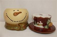 "Snowman Cookie Jar 10""H, Celery Dish"