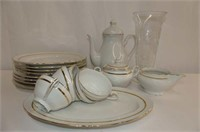 """Partial Set of Gold on White """"Caprice"""" Dishes"""