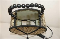 Oval Table Top Mirror, Cloth Shade Lamp