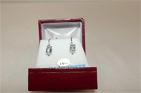 10 kt. White Gold 6x4mm Aquamarine & CZ Earrings