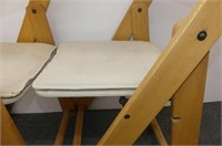 2 Wood Frame Folding Chairs w/Canvas Seat & Back
