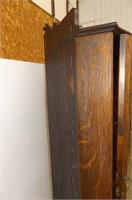Fumed Oak Corner China Cabinet