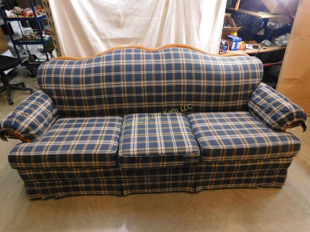 Country Style Plaid Sofa Great For