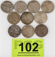 Coin 10  Peace  Silver Dollars Nice