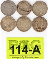 Coin 6  Peace  Silver Dollars Assorted Dates