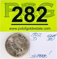 Coin 1922-D  Peace  Silver Dollar Gem Uncirculated