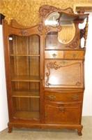 Fumed Oak Combination China Cabinet