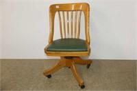 Wooden Swivel Office Chair w/Green Vinyl Seat