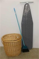 Lined Wicker Hamper, Broom, Ironing Board