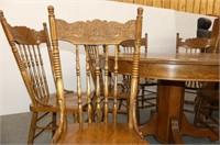 "Round Oak Pedestal Table   47.5""D"