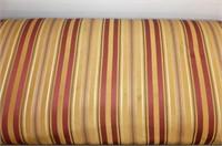 Wicker Gossip Bench w/Striped Upholstered Top