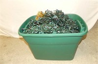 Gold Tinsel, Mini Lights in Green Christmas Tote