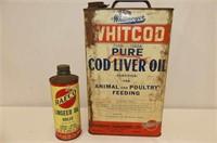 "Whitcod Cod Liver Oil Tin 12""H, 2 Plastic Funnels"
