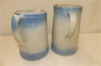 2 Blue & White Crockery Pitchers