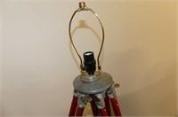 """Silver & Red Tri-Pod Lamp     56""""H"""