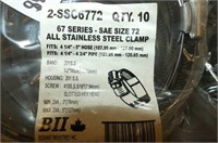67 Series Size 72 Stainless Steel Clamps