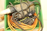 Extension Cords & Sump Pump in Milk Crate