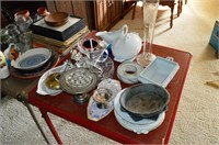 (2) Card Tables and Assorted China and Glassware