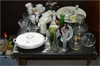 Card Table with Assorted China and Glassware,