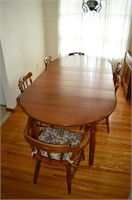 """Maple Dining Table and (6) Chairs, (6) 8"""" Leaves"""