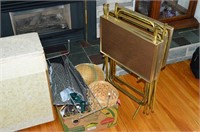 Grp, of TV Trays, Laundry Hamper, Etc.