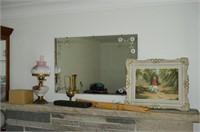Grp, of Mirror, Framed Print, Carving Set, etc.