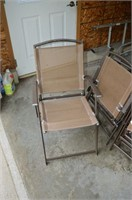 (4) Folding Patio Chairs and Drop Leaf Cart