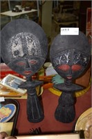 "Two Approx. 20"" Hand Carved Ghana Figural Ladies"