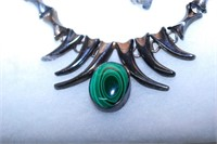 Sterling & Malachite Necklace And Bracelet Set 162