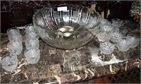 """15"""" Crystal Punch Bowl With 20 Complimentary Glass"""