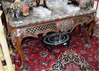 Contemporary Marble Top Entry Table With Carved Fl