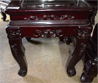 2X$  - Mother Pearl Inlaid Rosewood Carved Side Ta